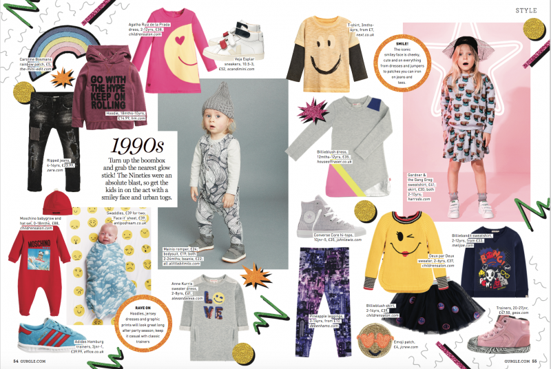 GURGLE MAGAZINE, DECMEBER ISSUE, DECADES FASHION EDIT BY BONITA TURNER, FREELANCE SHOPPING EDITOR, KIDS FASHION, AS SEEN IN, MY WORK