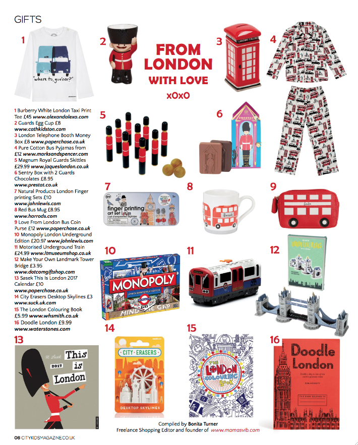 City Kids Magazine, Winter 2016 edition, Christmas gift guides by Bonita Turner, new work, as seen in, magazine, freelance shopping editor, published work, Christmas gift guides 2016, City Kids
