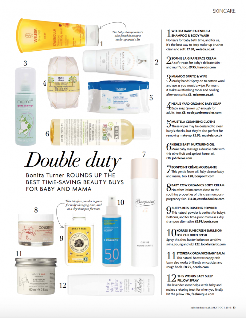 BABY LONDON BEAUTY PAGE SEPTEMBER / OCTOBER 2016 ISSUE BY BONITA TURNER, AS SEEN IN , MY WORK, FREELANCE SHOPPING EDITOR