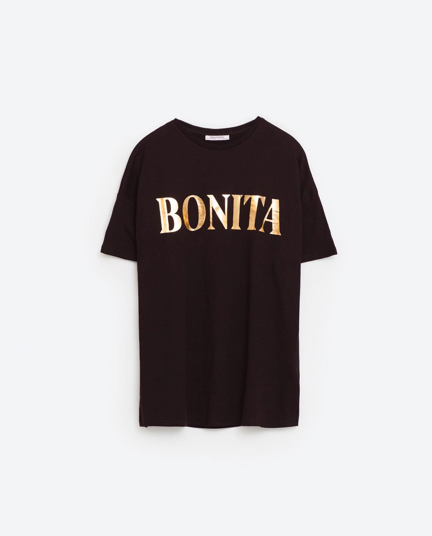 9 key pieces that have saved my wardobe this season, fashion, key pieces, new collection, Zara t-shirt, TRF at Zara. Bonita T-shirt, Bonita tee, gold slogan t-shirt