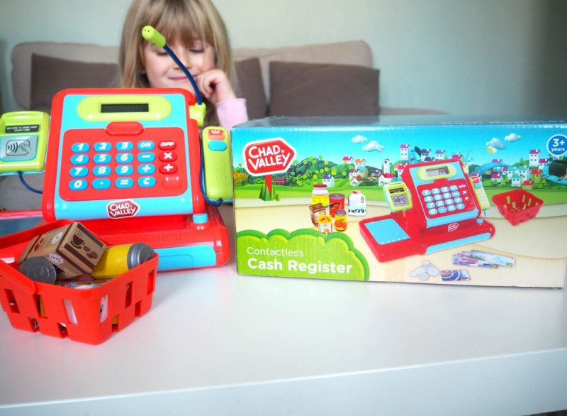 Chad Valley Imaginative play shopping till, Chad Valley Play panel, mamasvib, toy review, Argos